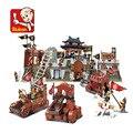 Romance de los tres reinos de la batalla de jingzhou sluban del bloque hueco 3d de construcción de ladrillo juguetes de regalo leping compatible diy