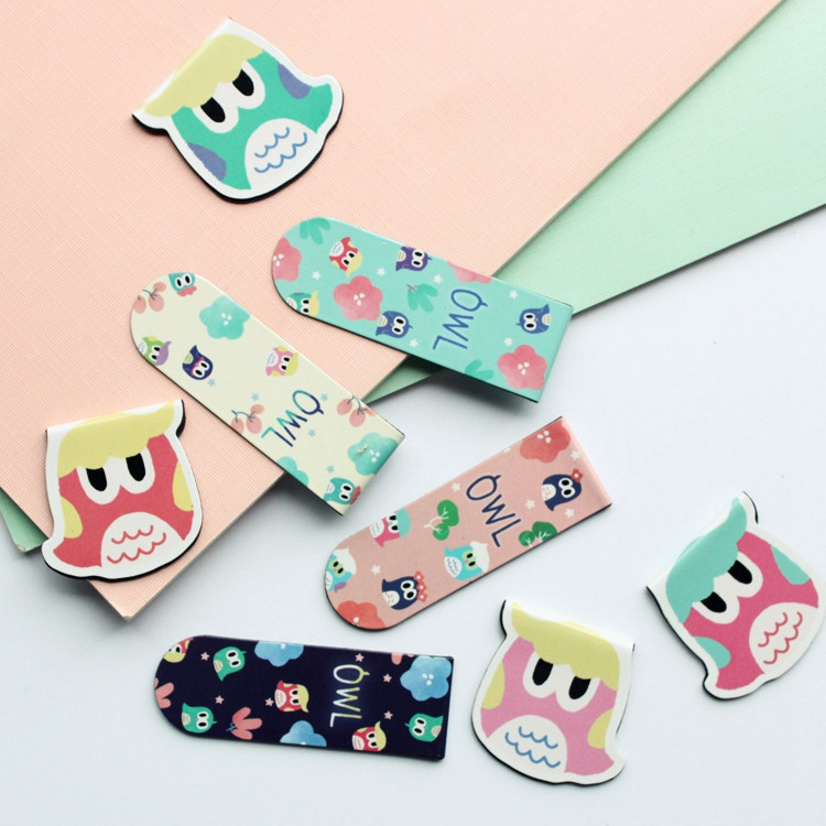 20pcs/set Cartoon Magnetic Bookmarks OWL Harry Family stainless steel Share tab for books metal bookends gift/tab for books feis sq 1001 cross style stainless steel bookmarks silver 4 pcs