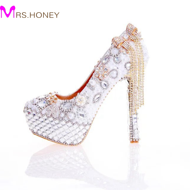 2017 New Arrival Women High Heel Shoes White Pearl and Crystal Wedding Dresss Shoes with Bow Tassel Rhinestone Prom Party Pumps new arrival purple crystal shoes woman wedding shoes and purse sets high heel platform shoes women s party shoes