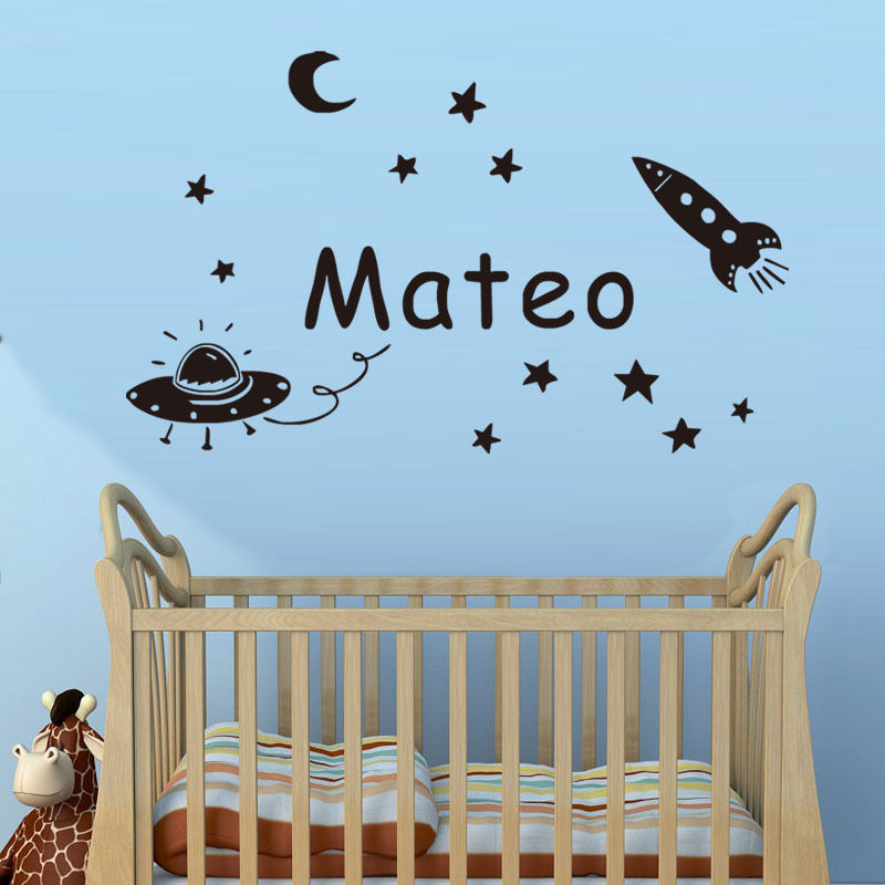 space planet wall sticker personalized name kids wall decal vinyl