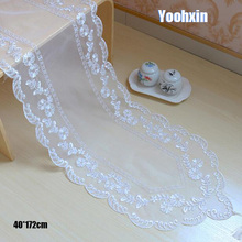 Modern white tulle Embroidery bed Table Runner cloth cover dining Lace tea coffee tablecloth Christmas hotel party Wedding decor new white lace cotton crochet tablecloth coffee table cloth mat round tea table cover dining christmas xmas party wedding decor
