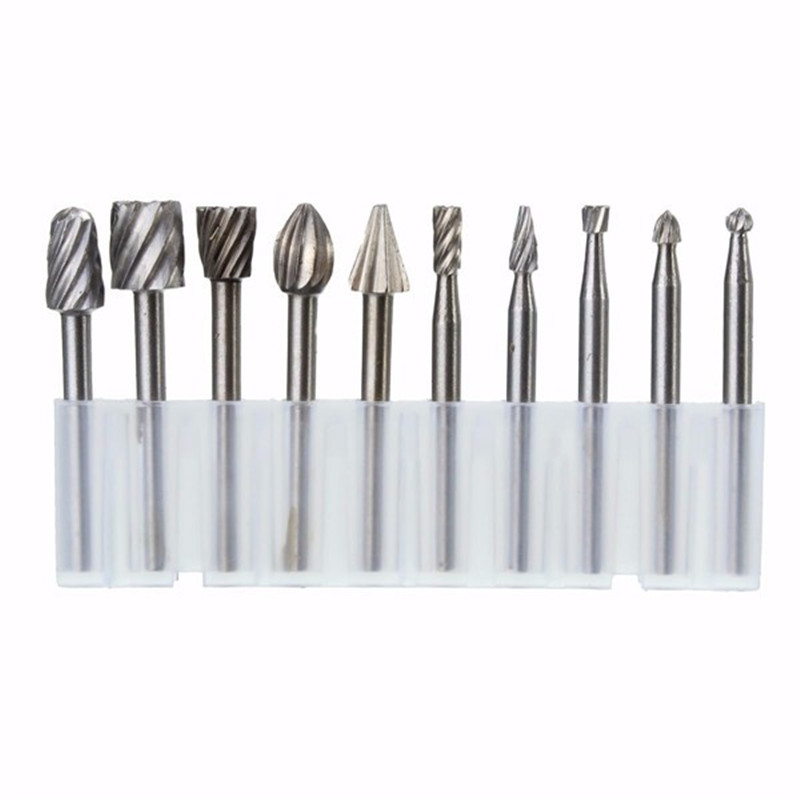 цена на 10pcs 3.175mm HSS Routing Router Bits Burr Milling Cutter For Dremel And Rotary Engraving Machine Tools Accessories