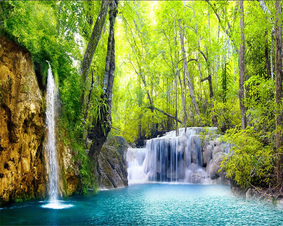 Beibehang 3d wallpaper hd waterfall scenery pictures wall paper 3 d sitting room the bedroom