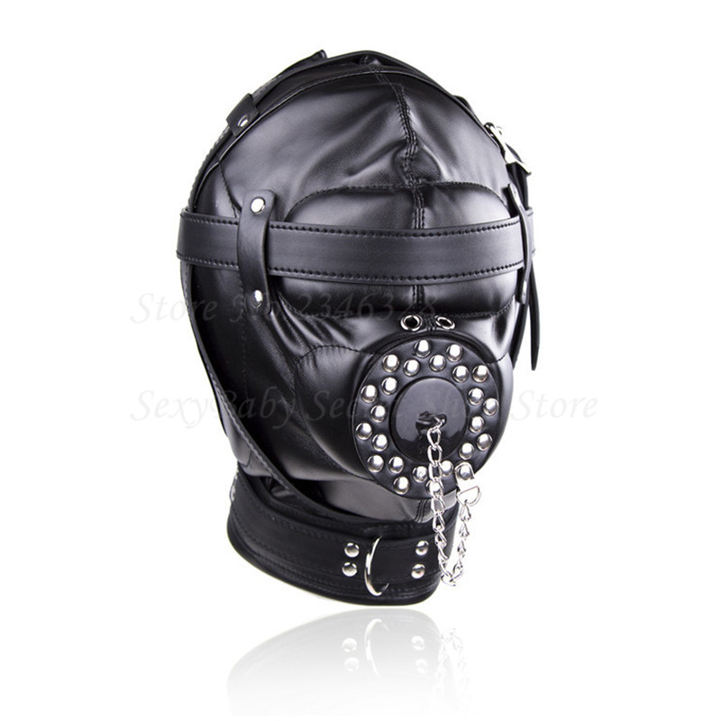 Superior Black PU Leather Bondage Hood Fetish Open Mouth Sex Gag Mask Slave Bdsm Bondage Restraints Erotic Sex Toys for Couples black bondage harness leather belt open mouth gag cover mask slave bdsm restraints adult games fetish sex toys for woman