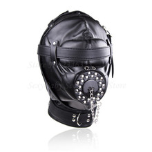 Superior Black PU Leather Bondage Hood Fetish Open Mouth Sex Gag Mask Slave Bdsm Bondage Restraints Erotic Sex Toys for Couples