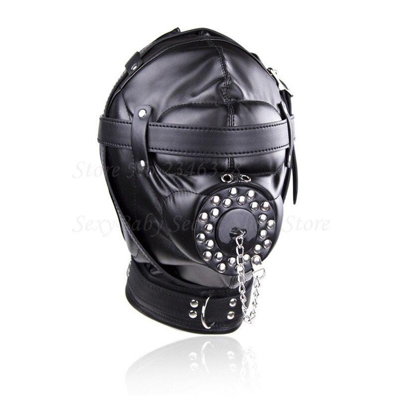 Superior Black PU Leather Bondage Hood Fetish Open Mouth Sex Gag Mask Slave Bdsm Bondage Restraints Erotic Sex Toys for Couples