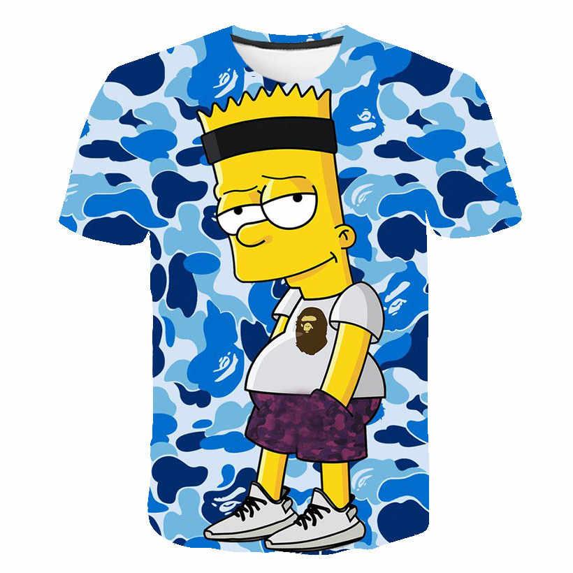 2019 T-shirt Novo das mulheres dos homens de Impressão Simpson 3D camiseta Meninos ocasional dos desenhos animados Harajuku engraçado T-shirt O-pescoço curto-de mangas compridas tshirt