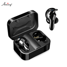 Aminy Bluetooth 5.0 Wireless Earphones IPX5 Waterproof sports Earbuds HiFi Stereo Noise Cancelling Earphone for phone