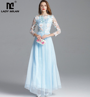 New Arrival Women's Autumn Runway Dresses Embroidery Long Sleeves Party Prom Elegant Floral Maxi Fashion Designer Dresses