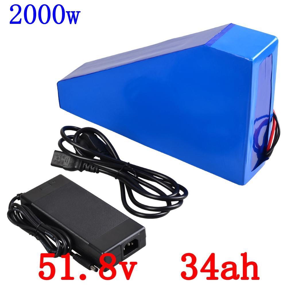 52V Triangle battery 52V 35AH lithium battery panck 52V 34Ah use LG cell electric bike battery for 48V 1000W 1500W 2000W motor