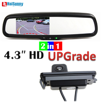 HaiSunny Car Parking Rear View Camera Dynamic Line With Special Interior Rearview Mirror Monitor For V W Polo 2C Passat B6