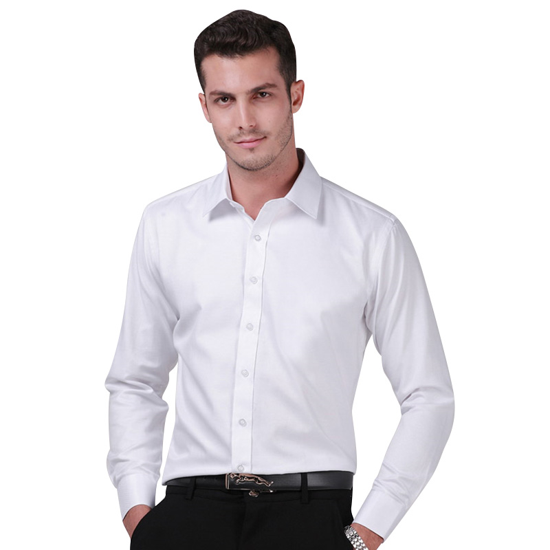 2017 men 39 s long sleeve white solid color twill shirt for Men s regular fit shirts