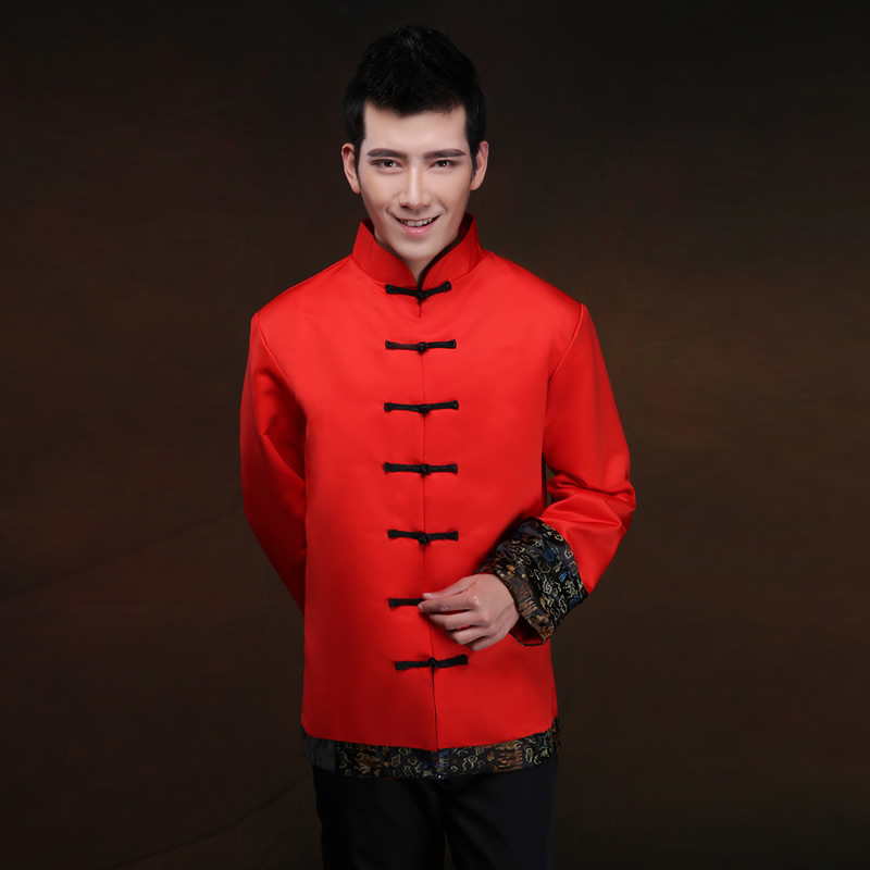 Red Traditional Chinese Clothing For Men Cheongsam Top Long Sleeve Groom Toast Costume Improved ...