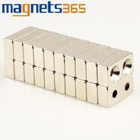 OMO Magnetics 10pcs Block Countersunk Magnets 20 *10 * 6mm 2- Holes 3mm Rare Earth Neodymium