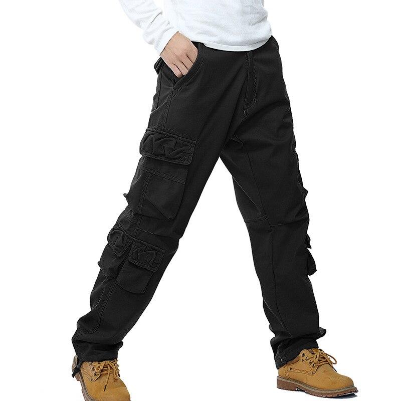 SHIFUREN Winter Fleece Men Cargo Pants Loose Fit Multi-pocket Male Double Layer Thicken Warm Military Trousers Plus Size 29-40