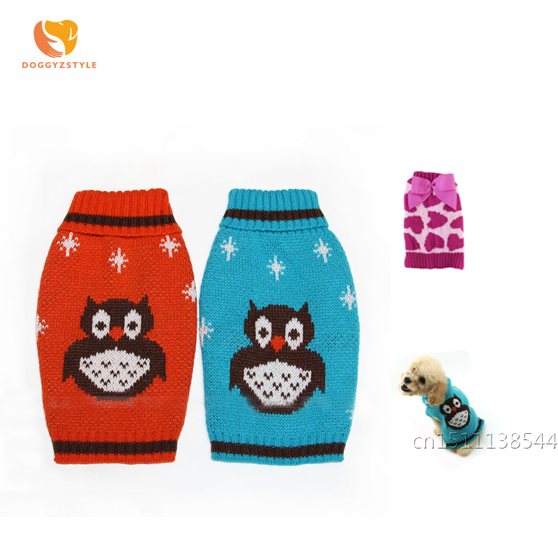 Halloween Owl Design Dog Sweater Winter Warm Love Bow Tie Pattern Pet Clothes Puppy Cat Coat Pets Apparel For Small Dogs Teddy