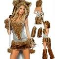 Venta caliente Alloween Trajes Catwomen 2016 Catwomen sexy Vestidos + Fur Hat + Guantes + Zapatos Cubre Invierno Traje Cosplay de Halloween