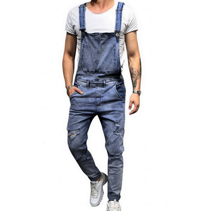 Litthing 2019 New Men Fashion Ripped Jeans Jumpsuits Street Distressed Denim Suspender Full Length Plus Size For Men S-2xl Pants