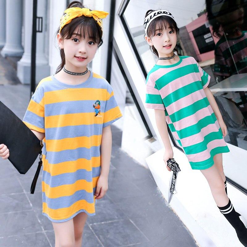 Girls Summer Long T-shirt Cotton Children Striped Tshirt Kids T-shirts Girls T Shirt Fashion Girls Clothes 5 7 9 11 13