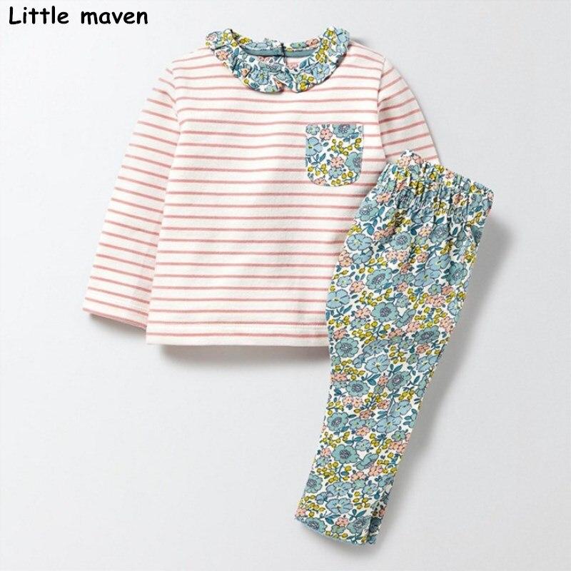Little maven children's clothing sets 2017 autumn Girls Cotton brand long sleeve striped pocket t shirt + floral pants 20145 girls slant pocket detail striped pants with belt