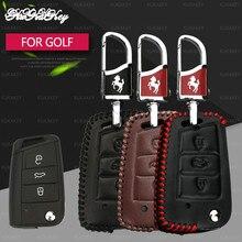 Genuine Leather Car Key Case For Magotan Passat B8 Golf 7 Skoda kodiaq A7 Octavia Polo Fashion StyleKey Protector Cover