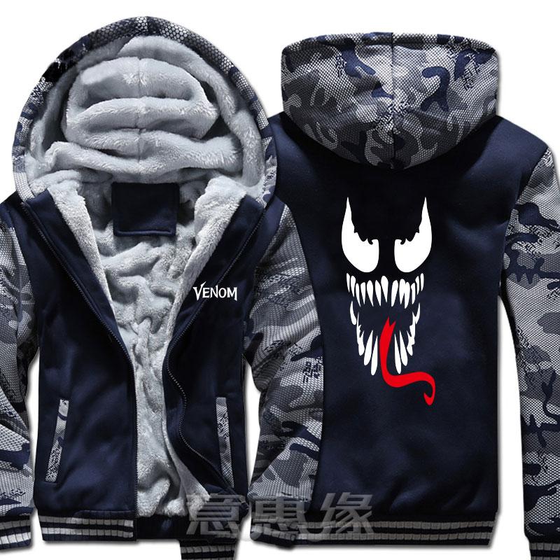 New Film Winter Men Women Spider-Man venom hoodie reflect light Thick Hooded Warm Jacket Coat