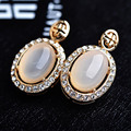 Pink Natural Semi-precious Stone Stud Earring for Women CZ Diamond Wedding Jewelry Rose Gold Earrings Ear brincos Pending S8