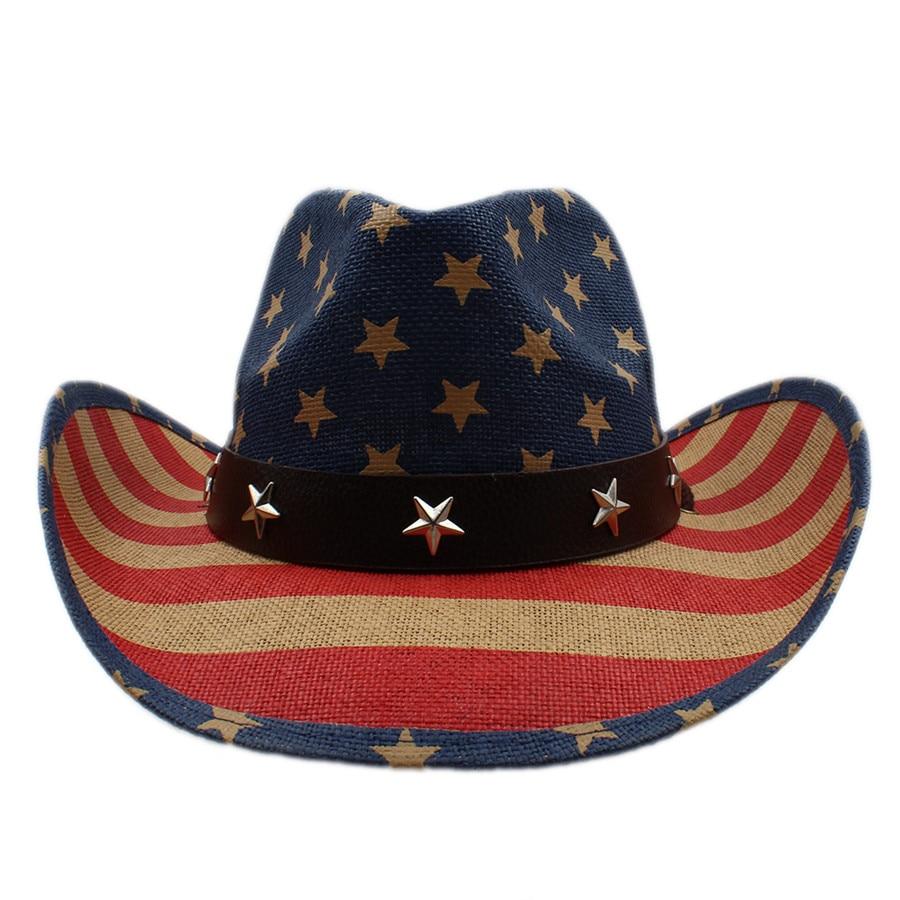 367933258ad40 Verano mujeres hombres hueco sombrero de vaquero occidental Caballero vaquera  Jazz ecuestre gorra sombrero playa Sol sombrero bandera americana en  Sombreros ...