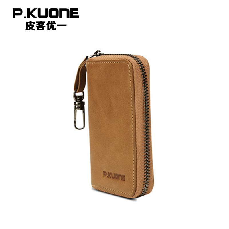 P.KUONE Real Leather Organizer Key Case Purse For Business Men Best Selling Genuine Leather Key Wallet Car Holder Housekeeper vintage genuine leather key wallet men keychain covers zipper key case bag men key holder housekeeper keys organizer