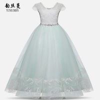 Kids Girls Dresses 8 10 12 to 14 16 T Light Green Lace Mesh Party Long Frocks for Girls Clothes Plus Size Christmas Dress 2O5A