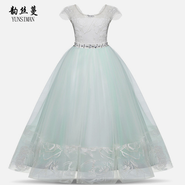 60d78b2d89893 US $34.98 |Kids Girls Dresses 8 10 12 to 14 16 T Light Green Lace Mesh  Party Long Frocks for Girls Clothes Plus Size Christmas Dress 2O5A-in  Dresses ...