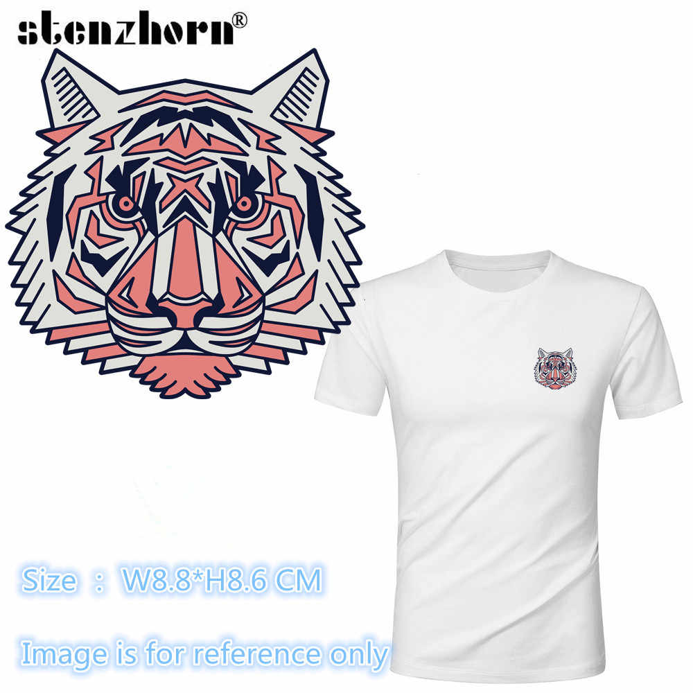 (1PC)Tiger Dog Lion Animal badge Heat Transfer Stickers Washable Iron On Applique For T-shirt POLO DIY Clothes Decoration