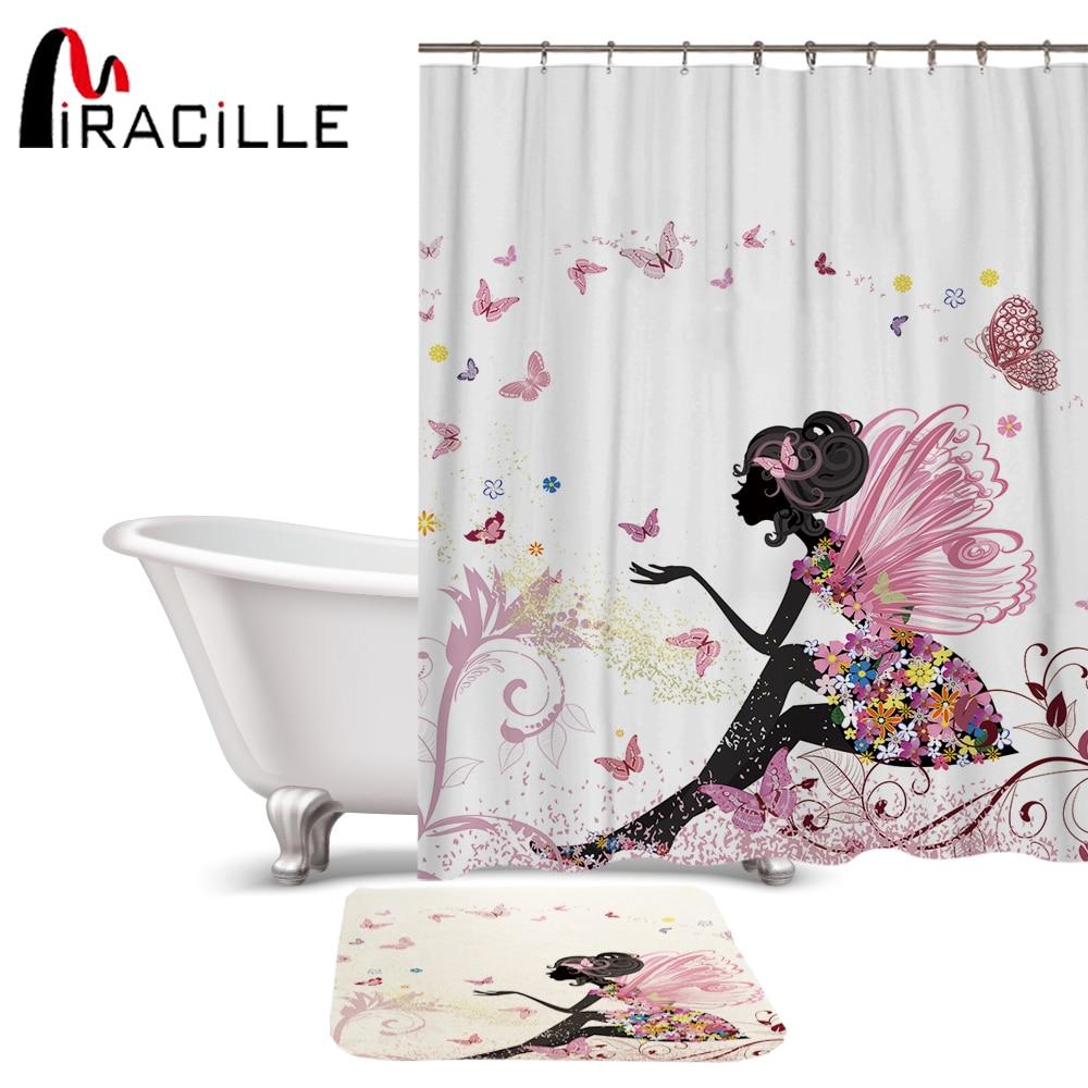 Miracille Beleza Padrão De Fadas Conjunto Tecido de Poliéster Impermeável Cortina de Chuveiro Cortina De Banho Para O Banheiro Com Não-slip Mat Chão