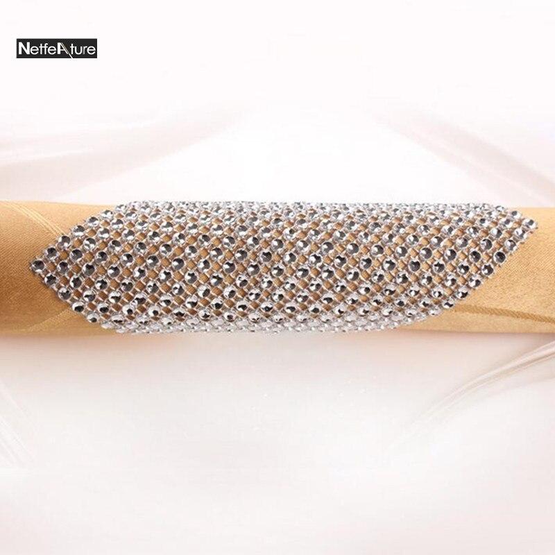 Hot Sale 12pcs/Set Rhinestone Plastic Wrap Napkin Ring Buckle Hotel Wedding Supplies Restaurant Home Dinner Table Decoration