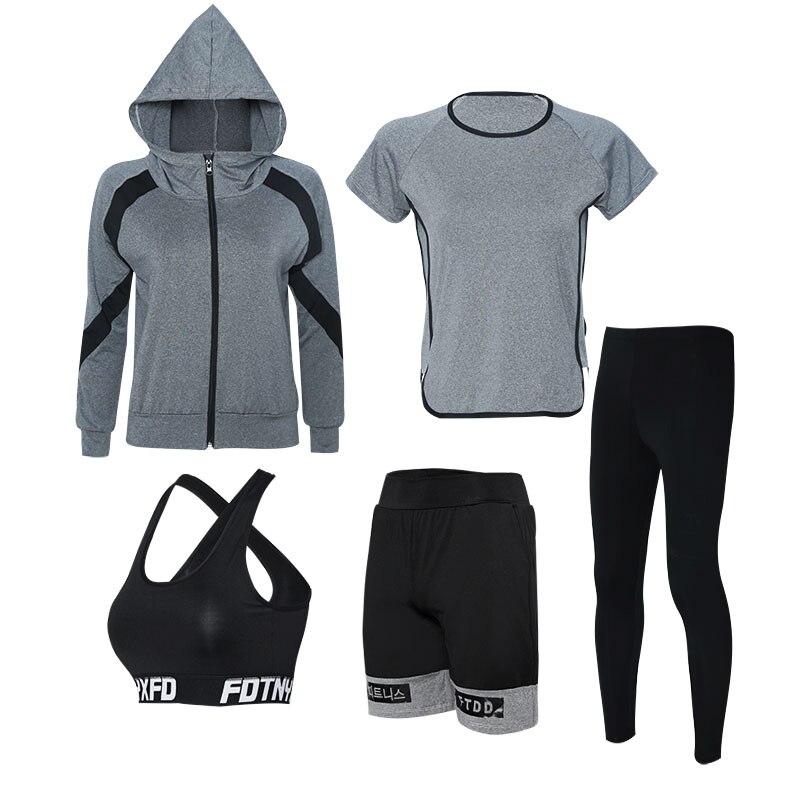 Yoga Set Vrouwen Rits Hoodies Yoga Kleding Beha Shirt Korte Legging 5 Stuks Set Sport Pak Fitness Ademende Gym Kleding - 6
