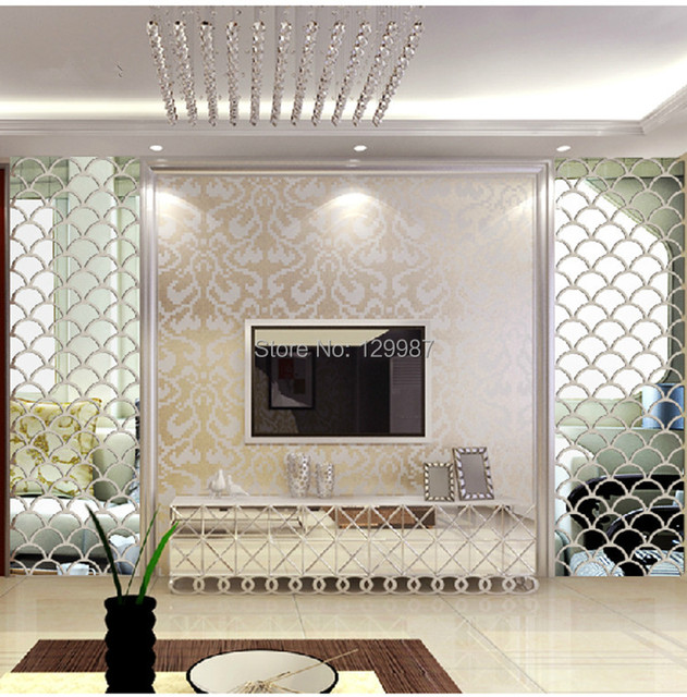 New style 40x100cm 3D fish scale mirror wall stickers forliving room ...