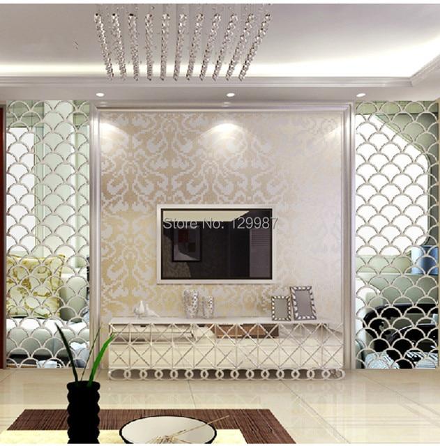 Nuevo estilo 40x100 cm 3D pescado escala espejo pared pegatinas para ...