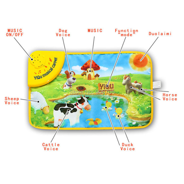 29x48CM Baby Farm Animal Musical Touch Play Singing Gym Carpet Mat Toy,musical carpet  play mat with led light