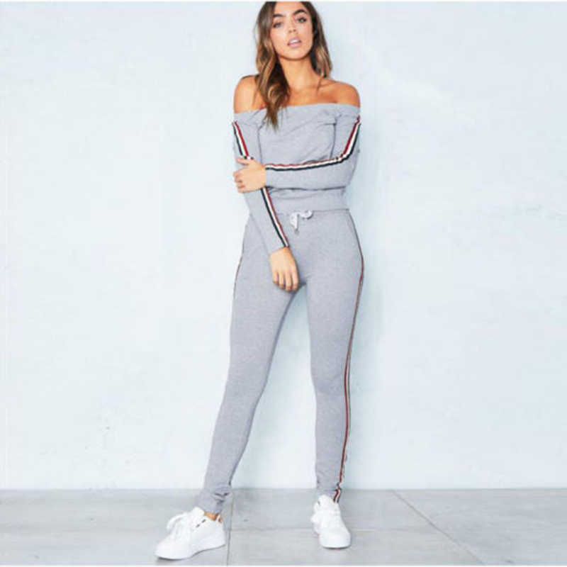 Women's 2Pcs Pants Suit Stripe Patchwork Off Shoulder Women's Clothing