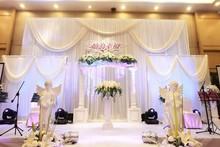 Deluxe White Wedding Background backdrops Large Wedding curtain Triple parts wedding stage background