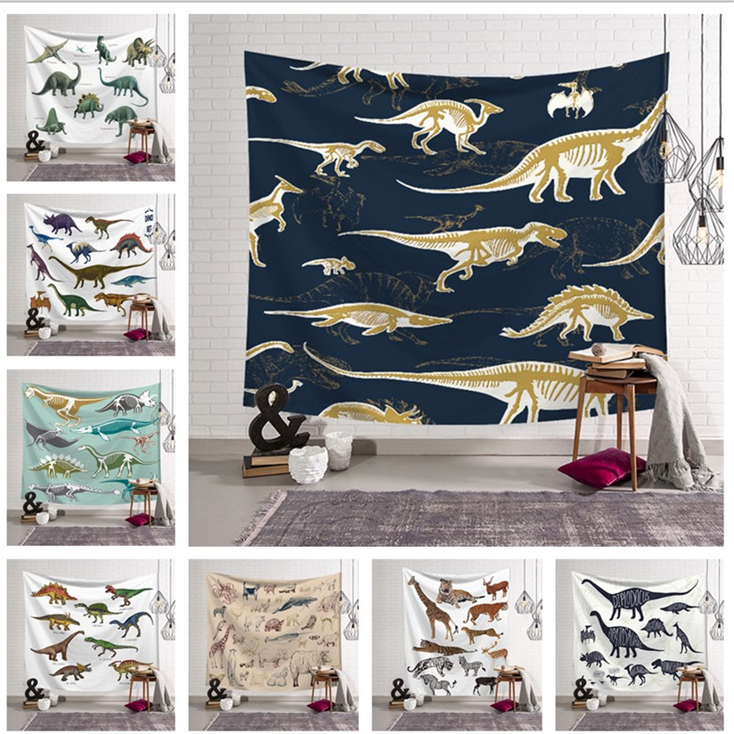 Dinosaur World Pattern Tapestry Child Teaching Animal Creative Home Valance Wall Hanging Fabric Painting Cloth Dorm Room Blanket