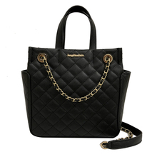 Women's Quilted Designer Chic Large Tote Shoulder Cross Body Bag Handbag PU Leather with Chain