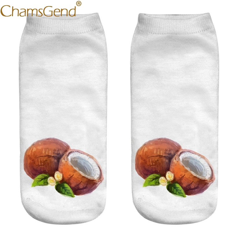 Chamsgend Drop Shipping Women Oil Paint Coconut Fruit Print Short Cotton Socks Calcetines Mujer 80402