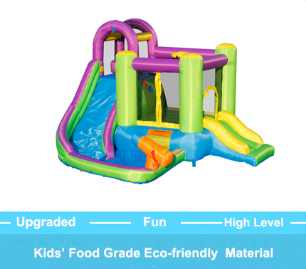 beitarfun inflatable double slide water park summer swimming pool with big water gun bounce house for kid water spray trampoline