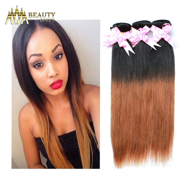 Brazilian Ombre Hair Extensions Straight Ombre Two Tone Brown Hair