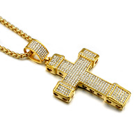 HIP Hop Or Couleur 6 Row Iced Out Micro Pave Cristal croix Colliers En Acier Inoxydable Chaîne et Pendentifs pour Hommes Bijoux Christian