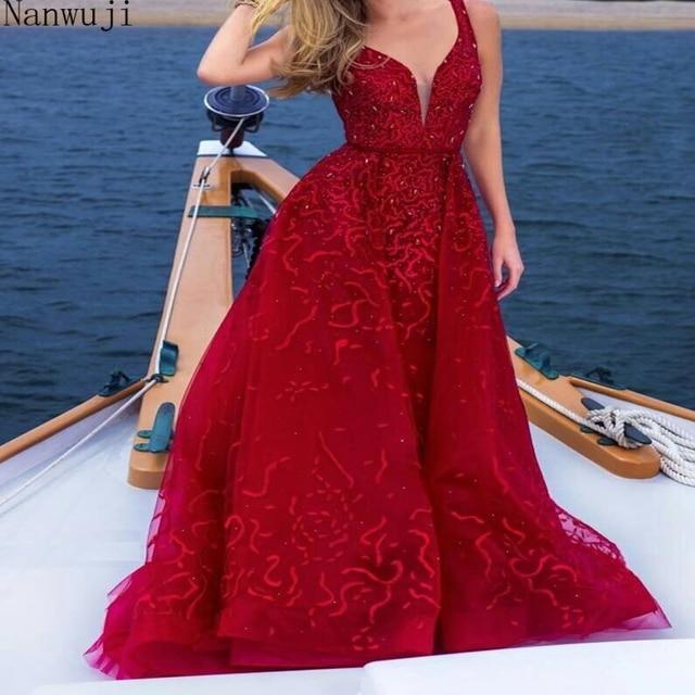 2018 Real Luxury V Neck Vestido de festa Robe De Soiree Feather Long Sleeve Tulle Party Evening Dresses 2018 Burgundy 1