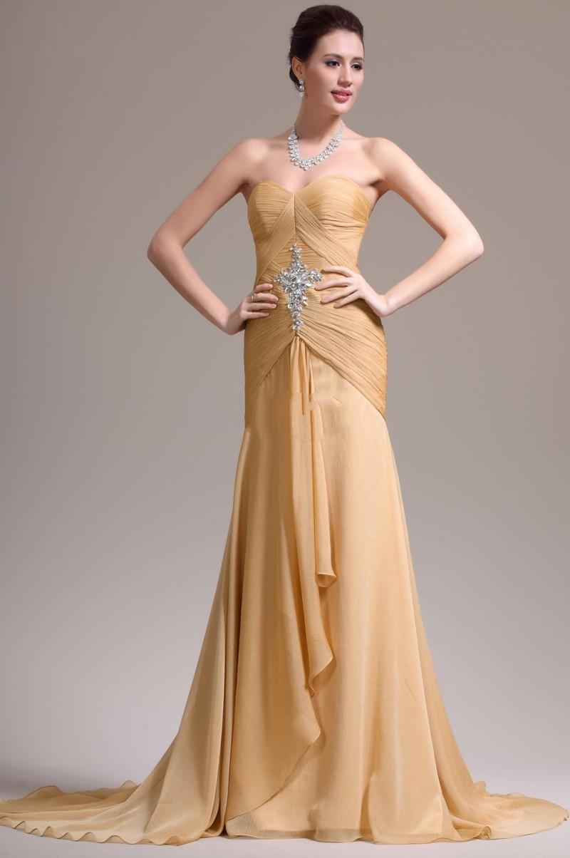 Gold chiffon evening dresses corset bodice formal gowns for Evening dresses for weddings