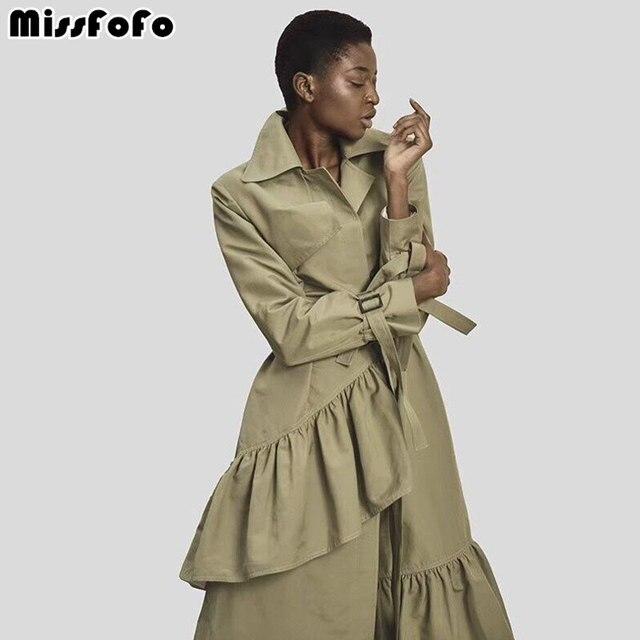 MissFoFo 2018 Новый Для женщин Тренч в клетку Тренч и Армейский зеленый рюшами Однобортный тонкий Solide высокое качество S-XXL