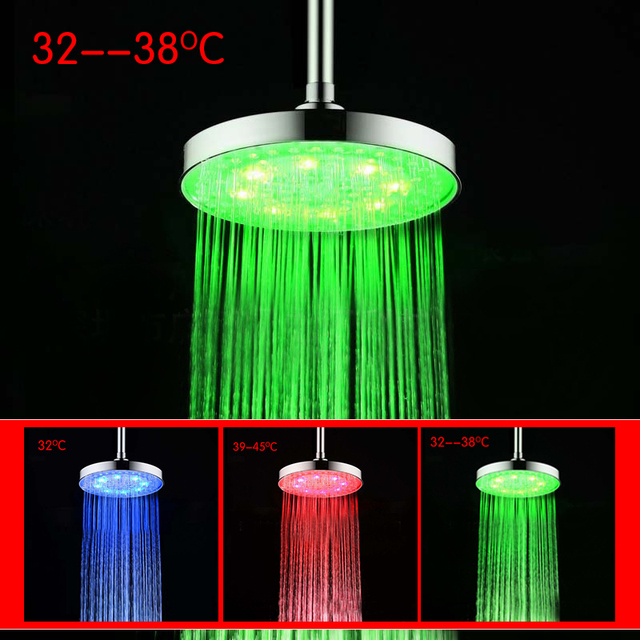 8 Inch Water Temperature Sensor Control 3 Color Roundness Bathroom ...